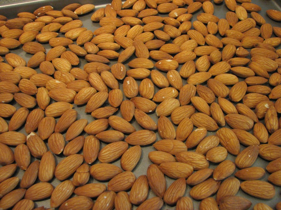 Raw Almonds on Baking Sheet