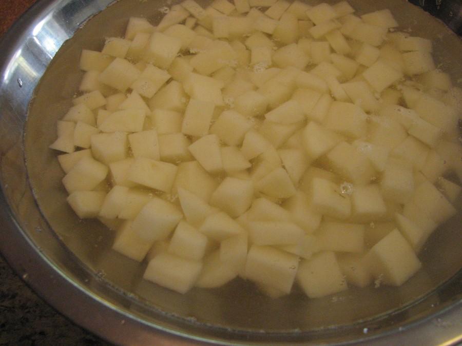 Submerged potatoes